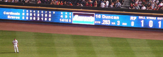 The Auxillery scoreboard in the RF Wall - Turner